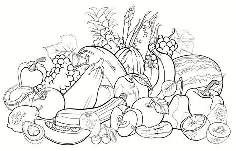 Coloring Page Vegetables And Fruit by All Fruits Coloring Pages