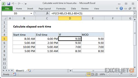How To Work On Excel Spreadsheet by Excel Formula Calculate Elapsed Work Time Exceljet