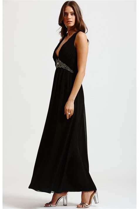 mistress black chiffon embellished maxi dress