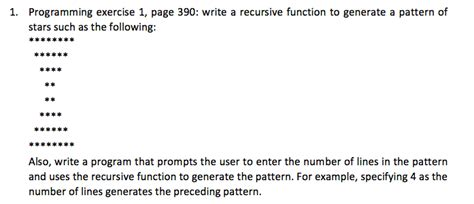 recursive pattern questions solved programming exercise 1 page 390 write a recursiv
