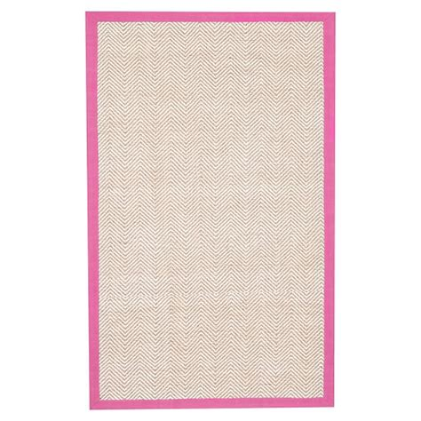 bright pink rug shoreline jute chenille border rug bright pink pbteen