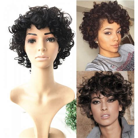 curly hairstyles machine short curly hair for summer no lace machine made human