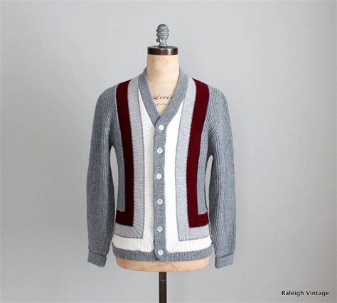 sweaters etsy vintage 1960s mens cardigan 60s mod grey striped sweater