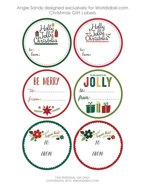 printable christmas round tags world label exclusive christmas gift tag printable angie