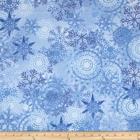 timeless treasures blue winter packed snowflakes blue