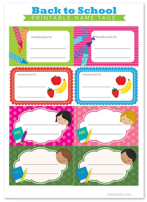 printable name tags for school books back to school printable name tags mami talks