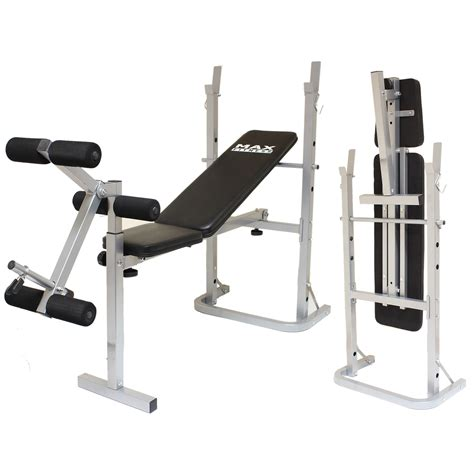 max fitness folding weight bench home workout exercise