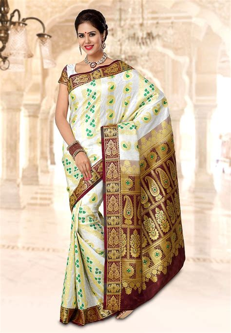 pothys silk sarees pothys white art silk fancy saree footwear jewellery