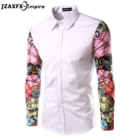 pattern shirt fashion men print shirt fashion pattern design long flowers
