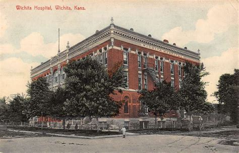 wichita kansas hospital view antique postcard