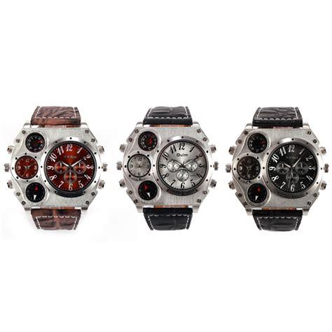 Jam Tangan Pria Oulm Quartz Leather Band Fashion 4099 N oulm jam tangan fashion pria dengan kompas dan thermometer