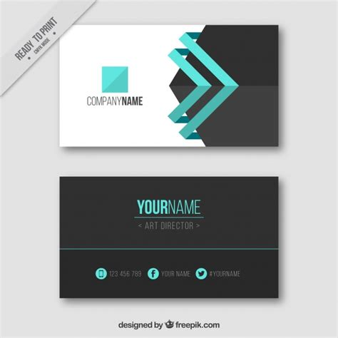 model business card template visiting card with blue details vector free