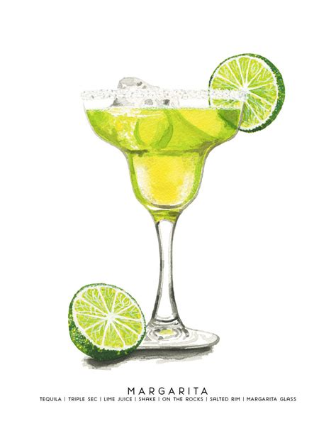 cocktail drawing margarita watercolor and gouache illustration by cheryloz