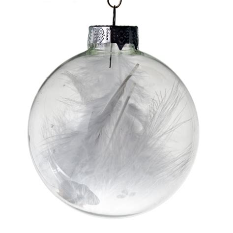 clear glass white feathers baubles 4 x 70mm baubletimeuk