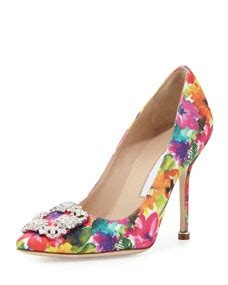 Pre Fall Manolo Blahniks Ship Mid July So You Get Summer Wear Out Of Peep Toe Shoe Styles Like This Lace Dorsay by Manolo Blahnik Hangisi Floral Print 105mm Multicolor
