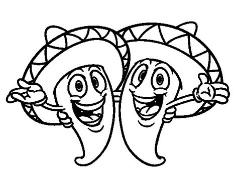 coloring pages mexican food mexican peppers coloring page coloringcrew com