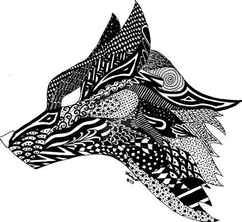 pattern drawing animals zentangle fox by fallowsingerwolf color art therapy