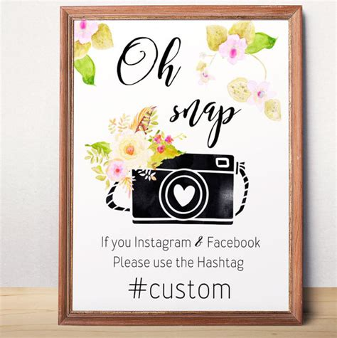wedding hashtags instagram instagram hashtag oh snap sign wedding hashtag printable