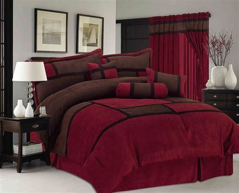 burgundy brown microsuede patchwork 7 piece comforter set