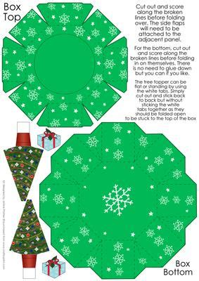 paper tree toppers printables green octagon gift box with 3d tree topper cup279478 1504 craftsuprint