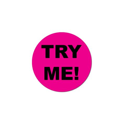 quot try me quot stickers with a black background