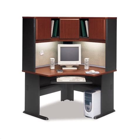 wooden corner desk with hutch bush bbf a series corner wood office desk with hutch in hansen cherry bsa047 944