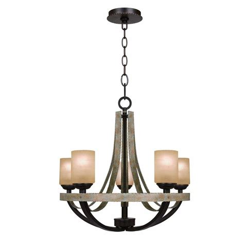 hton bay 5 light olive chandelier 27206