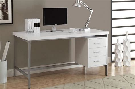 Modern Computer Desk White Wood For Home Office Modern White Office Desk