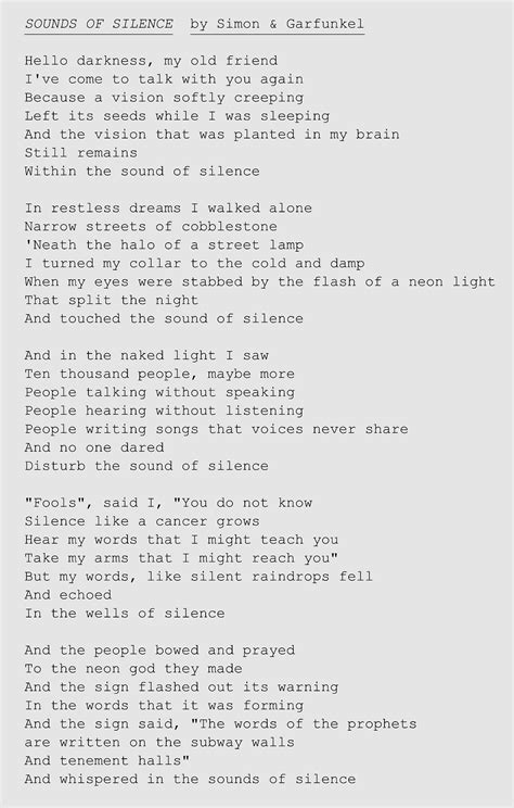 your beautiful testo lyrics to sounds of silence by simon garfunkel