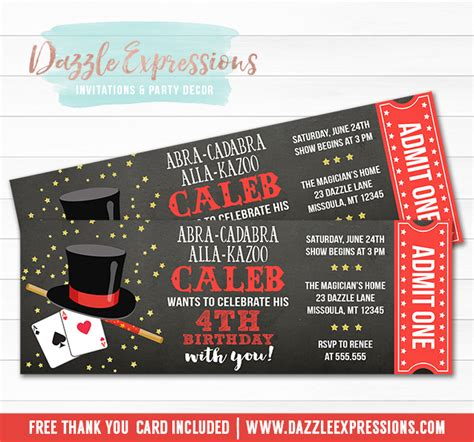 printable show tickets printable magic show ticket birthday invitation magician