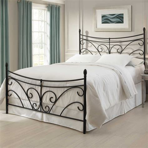 bergen iron bed matte black finish curving scroll design