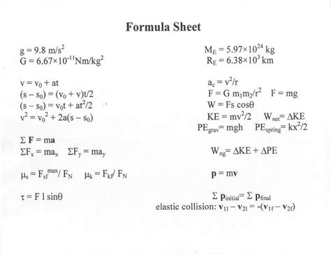 Ubc Physics 100 Course Outline by Webpages Phys100 Formulas