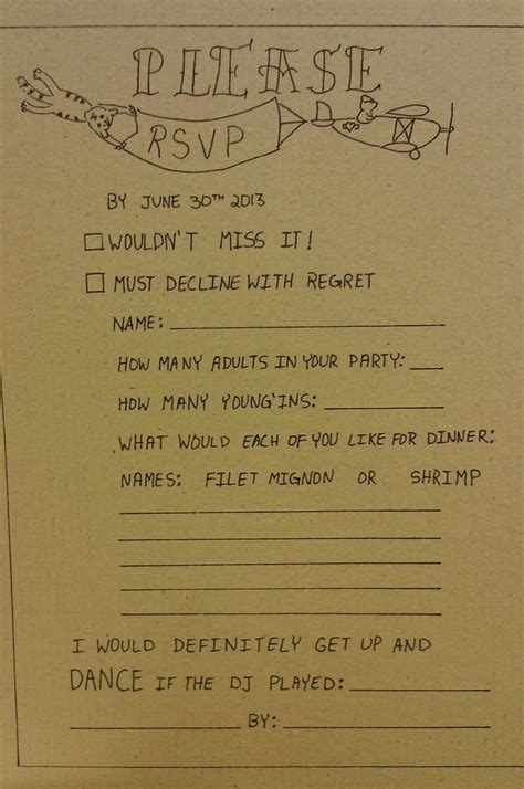 Hand Drawn Wedding Invitation RSVP with song request