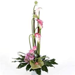Tropical Flowers And Bouquets - tall arrangement using pink tropical flowers and exotic
