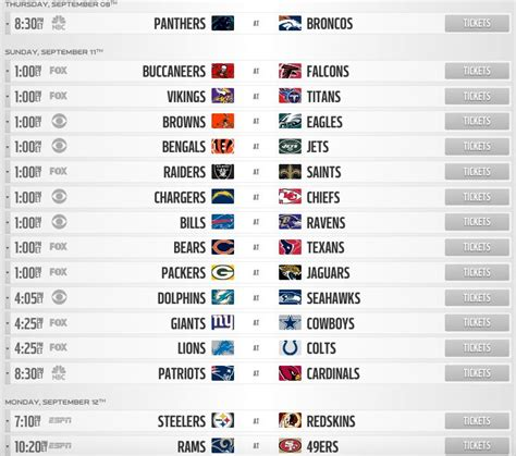 printable nfl schedule one page one page printable nfl schedule calendar template 2016