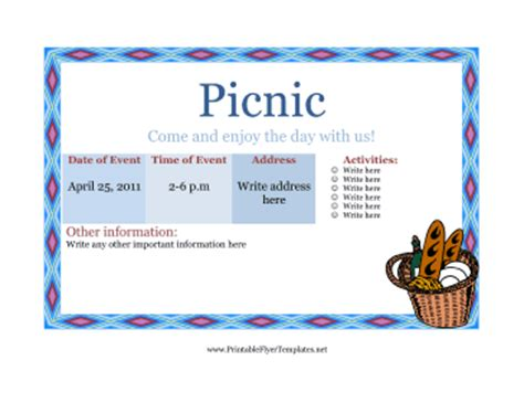 24 Free Picnic Flyer Templates For All Types Of Picnics Editable Designs Demplates Picnic Flyer Template Word