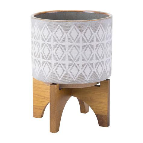 10 x 4 white ceramic planter zuo 7 9 in w x 10 4 in h gray and white ceramic planter