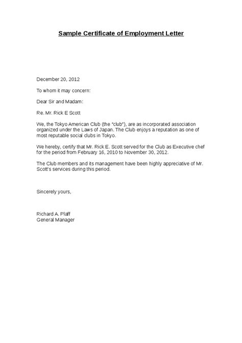 Employment Letter Format For Sle Certificate Of Employment Request Letter Cover