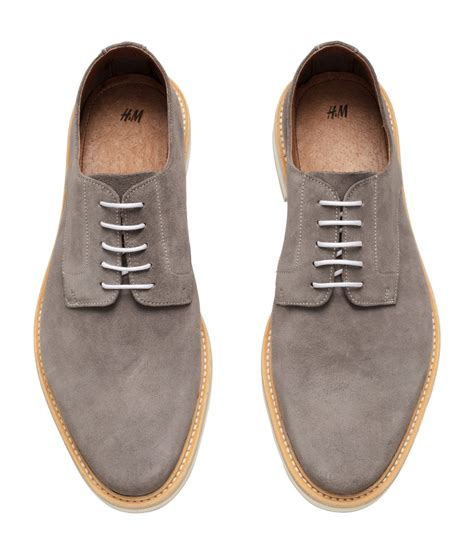 shoes h m h m suede derby shoes in gray for lyst