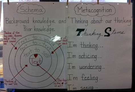 schema chart schema and metacognition anchor charts reading