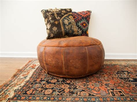 Moroccan Leather Pouf Ottoman Cape Atlantic Decor