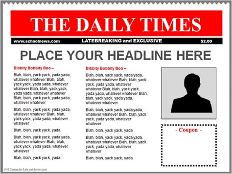 newspaper templates for pages blank newspaper front page p2c info