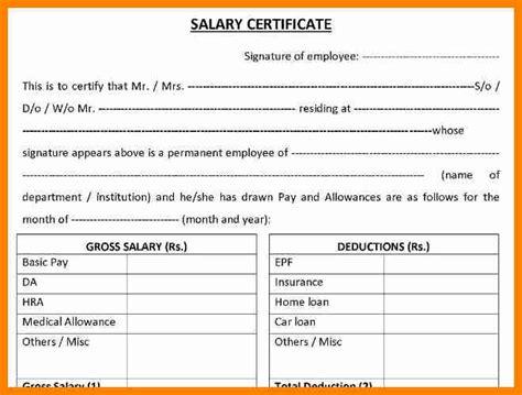 Salary Certificate Letter Format Uae 4 Salary Certificate Format Uae Forklift Resume