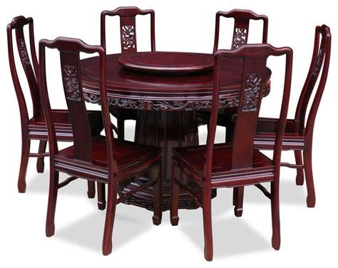 Shop Houzz China Furniture And Arts 48 Quot Rosewood Dragon Dining Table Set For 6