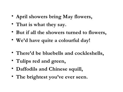 April Showers Bring May Flowers Poem april showers bring may flowers poem
