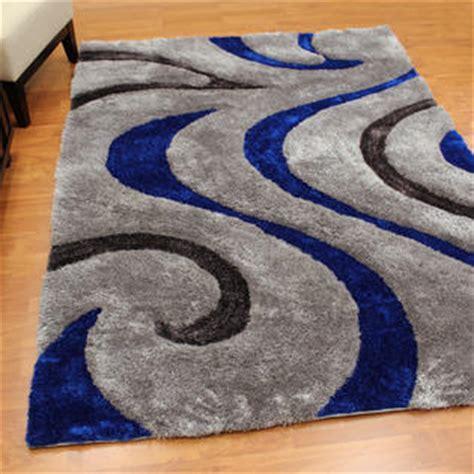 electric blue rug donnieann 3d shaggy 806 abstract wavy swirl design electric blue color area rug 5 x7