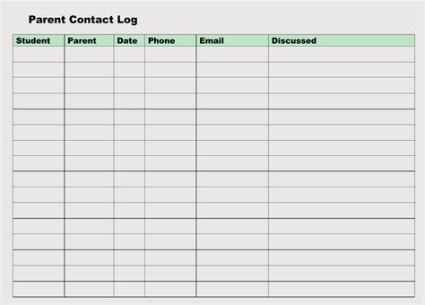 parent contact log template printable parent contact log sheet templates excel word