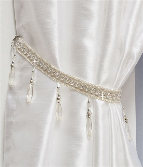 beaded curtain tie back white