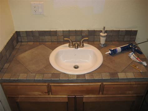 bathroom vanity tile countertop for the home pinterest bathroom countertop ideas diy home decor