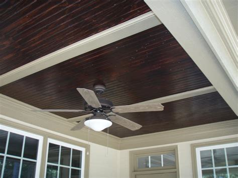 Patio Ceiling Panels by Stained Beadboard Ceiling For Front Porch Outdoors